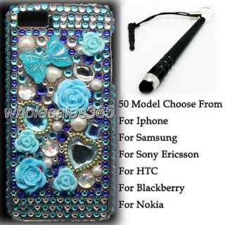 Blue bowknot Bling Crystal Diamond Rhinestone Case Cover For Samsung
