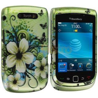 Green Flower Hard Design Case Cover for Blackberry Torch 9800 9810