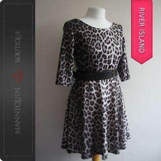 River Island Leopard Animal Print Skater Dress ♦ Size 8 10 12 14