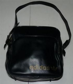 VINTAGE 70S ADIDAS TREFOIL BLACK ATHLETIC BAG MESSENGER BAG SATCHEL