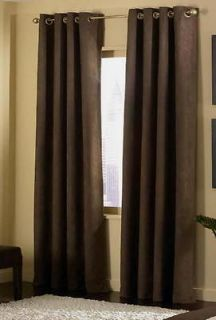 Pc Brown Grommet Micro Suede Curtain Panel Window Covering 54x63