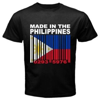 MADE IN THE PHILIPPINES Filipino Filipina Barcode Flag Black CUSTOM T