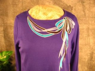 BOB MACKIE Royal Purple Embroider BOW Tunic Sweater L