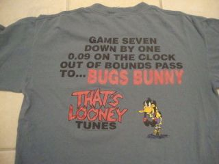 Tunes Daffy Duck Bugs Bunny Basketball Themed Blue/Gray T Shirt XL