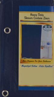Blue Fabric Shower Curtain W+ Metal/Ceramic Hooks + FREE LINER