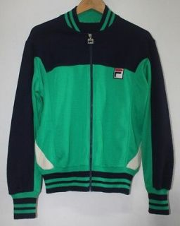 VTG. 70s FILA BJ GREEN & BLUE TRACK TENNIS SPORT WORM JACKET sz 42