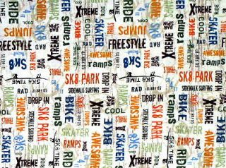 WORDS COTTON QUILT FABRIC RAMP BMX BIKE SKATEBOARD SKATER YARD VIP