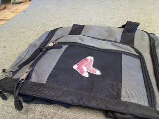 BOSTON RED SOX DUFFLE/GYM BAG BLACK/GREY OFFICAL LOGO MLB 7 POCKETS