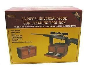 Universal Gun Cleaning Kit 25pc .22 Cal & Up Wood Box