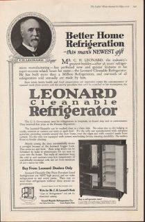 1919 LEONARD ICE BOX CABINET REFRIGERATOR PORCELAIN KITCHEN DECOR