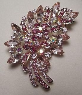 LARGE VINTAGE STYLE PINK AB PIN BROOCH BRIDAL WEDDING BOUQUET