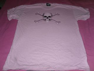 WOMANS PINK T SHIRT WITH SKULL AND CROSS BONES SIZELARGE BY SKULBONE