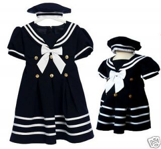New Baby Girl & Toddler Sailor Nautical Party Dress Outfits S M L XL