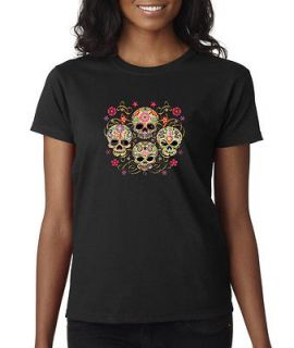 Mexican Sugar Skulls Flower Floral Ribbons Ladies Tee Shirt