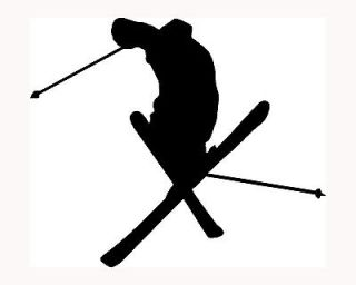 Skier Silhouette Sticker Ski Car Window Vinyl Decal Extreme Sports