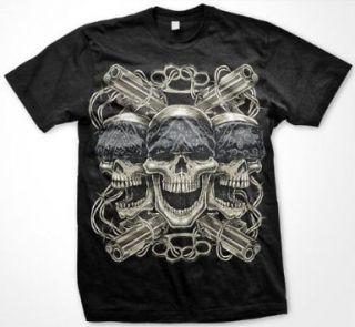 Thug Life Skulls Bandanna Weapons Gangsta  Mens T shirt