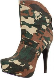 Military Dress Platform Sheryl 2 Stiletto Heel Bootie Shoe Camouflage