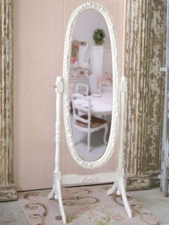Shabby Cottage Chic White French Cheval RoSe Mirror Standing