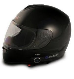 Vcan Bluetooth Full Face Motorcycle Helmet 2 Speakers   Glossy Black