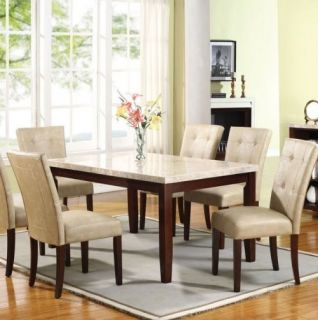 White / Espresso Marble Top Dining Room Table and Chair Set