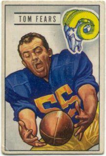 1951 Bowman Football # 6 Tom Fears Los Angeles Rams VG 1112