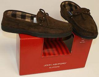 John Ashford Mens Slippers RONALD BROWN Moccasin Driving Shoe 9 10 11
