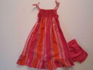 Baby Gap Bright Pink Metallic Striped Gypsy Boho Smocked Dress