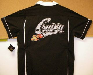 Swingmaster Black/Red Retro Bowling Shirt LUCKY LANES printed Front