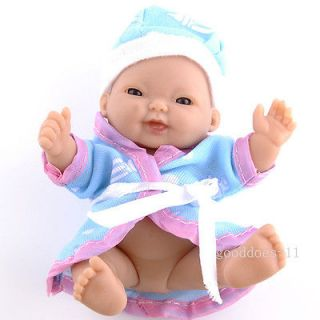 Precious Lifelike Soft Polymer Clay Newborn Baby Blue Eyes Doll with