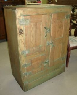 Antique 3 Door Ice Box Chest Old Finish