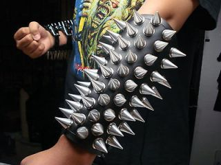 LEATHER SPIKED LACED GAUNTLET.(MDLG0236).BLACK METAL.BEHERIT.ARCHGOAT