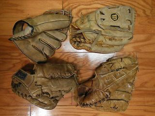 Vintage Baseball Glove Lot Newport Regent Wilson Rawlings Lew Burdette