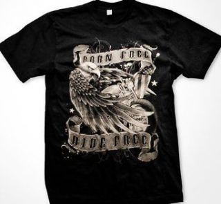 Internets Best Selling Tee Born Free Ride Free Mens T shirt, Eagle