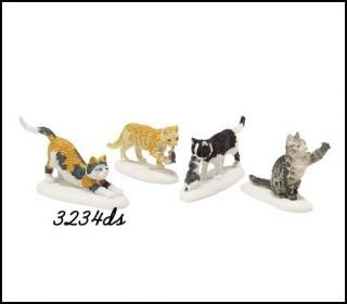 Dept 56 Village Accessory #4020252 Set of 4 Pcs STRAY CAT STRUT Free