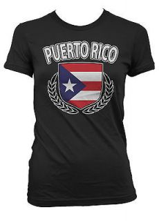 Puerto Rico Rican Flag Crest Olive Branch Regal Juniors Girls T shirt