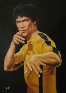 Bruce Lee   The Dragon Yellow Kung Fu Uniform   Original Poster Oil