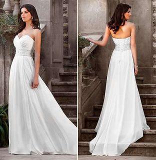 White Sweetheart Chiffon Wedding dress Bridal Gown Size 8 10 12 14 16