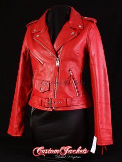 Ladies BRANDO Red Classic Motorcycle Motorbike Cruiser Hide Leather