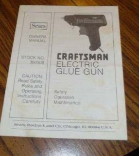 Craftsman Electric Glue Gun Owner Manual