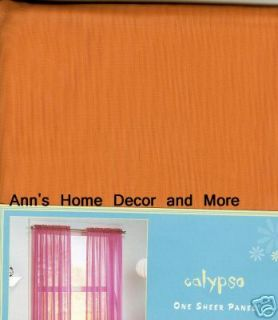 Calypso Bright Orange Sheer Curtains Panels 63L Set