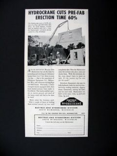 Bucyrus Erie Hydrocrane Pre Fab Home Section 1949 print Ad