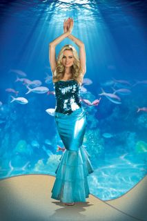Sea Diva Halloween Blue Mermaid Costume Female Dress 3 Pcs Set Gift
