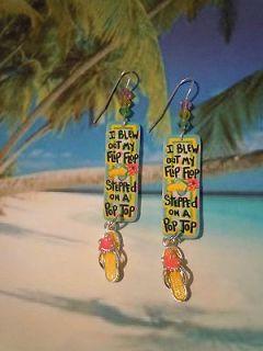 jimmy buffett margaritaville flip flop charm earrings parrothead