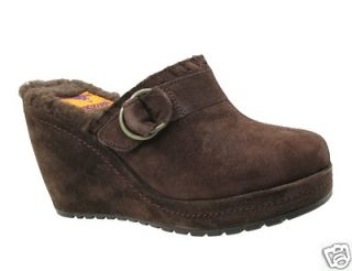 NEW WOMENS ROCKET DOG BRODIE SUEDE BEIGE BROWN BLACK CLOG SHOES 8 8.5
