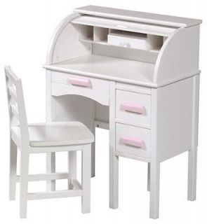 Top Desk In Junior Size w White Finish & Pink Drawer Pulls & Chair