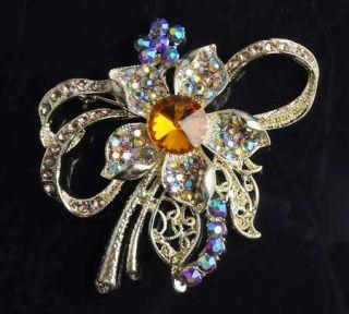 Pentagram shape rhinestone crystal flower alloy brooch pin NEW STYLE