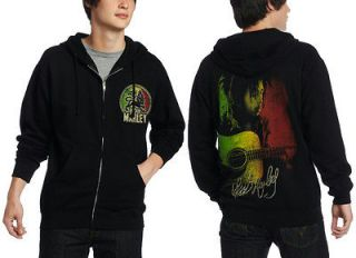 BOB MARLEY HOODIE ZIP UP LION BLACK LICENSED ADULT MENS S 2XL