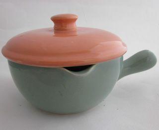 VTG Oven Bake McCoy Pottery Bowl Covered Casserole Handle Spout Aqua