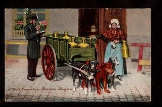 milk maid dogs pulling milk cart inspection brussels belgium postcard