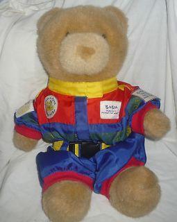 Build A Bear BABW Teddy Bear Brown Race Car Driver Uniform Red Blue 14